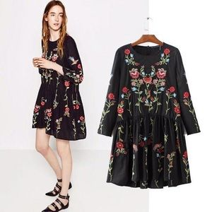 Zara Black Floral Babydoll Dress